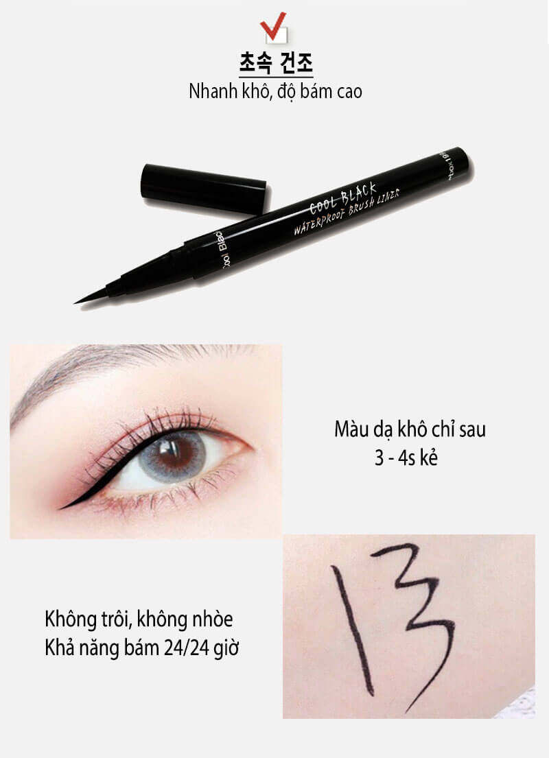 dạ kẻ mắt cool black - waterproof brush liner 2