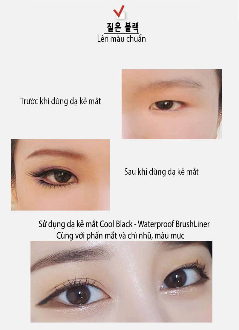dạ kẻ mắt cool black - waterproof brush liner 4